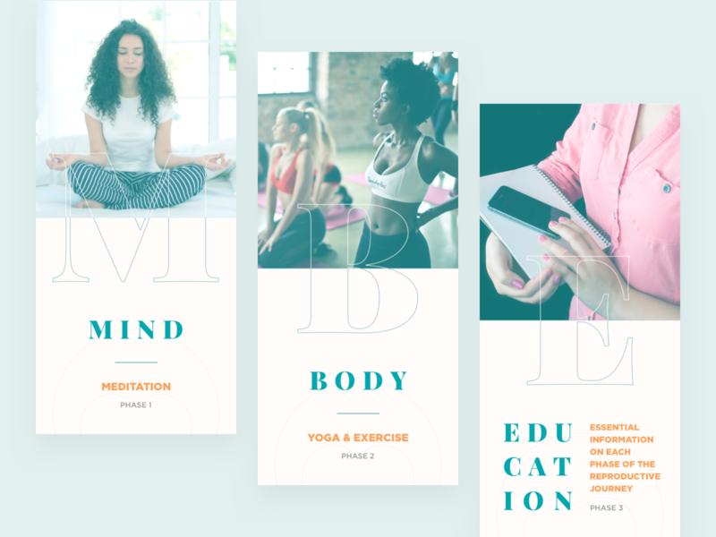 Onboarding Slides • Meditation App yoga woman slide pregnancy phase onboarding motherhood mobile minimal mind meditation learn journey guide fertility exercise education calm body app