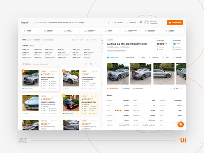 Search Results and Ad Details • UX and UI transition website web ux ui transition trading tags sort sell search results menu listing filter details categories cars buy animation advertisements ads