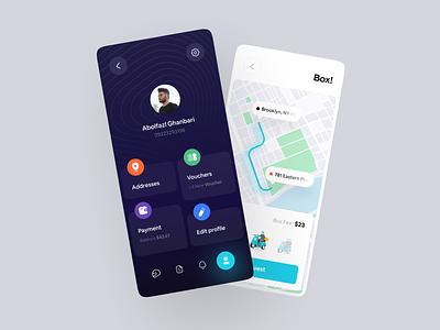 Delivery app Concept app dark mode dark ui dark app delivery status alopeyk tapsi lyft uber app design delivery service delivery truck box dark delivery app delivery