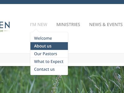 Church Design dropdown menu navigation church web design.