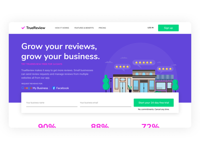 TrueReview Launch app web app saas app form input sign up illustration landing page product page reviews truereview