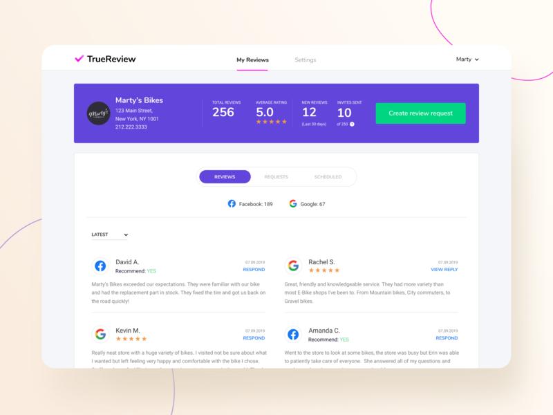 Complete Profile - TrueReview webapp saas requests reviews responsive site app ux website design ui