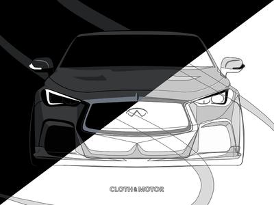 Infiniti Q60 Process automotive car infiniti q60 artwork illustration poster