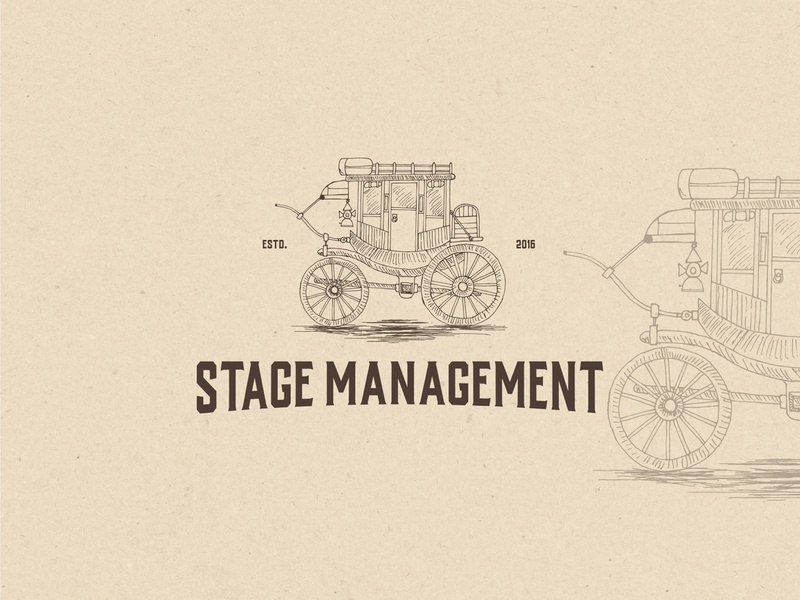 Logo for Stage Management vintage stagecoach stage hand drawn retro illustration brand a logo design sketch logodesign logo drawing branding