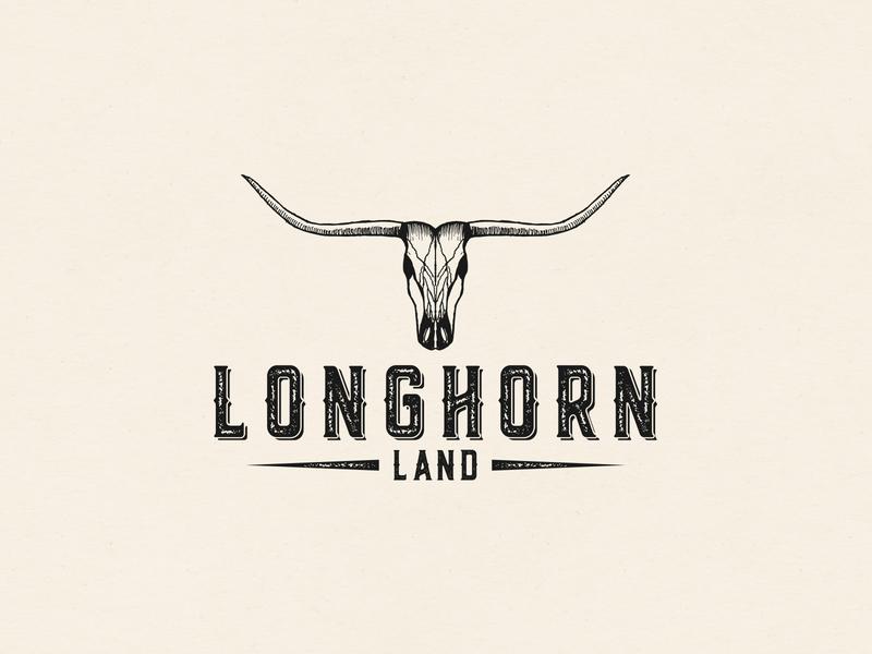 Logo Longhorn Land cowboy cow longhorn hand drawn retro illustration brand sketch drawing a logo design logodesign logo branding