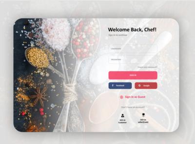 Chef login page UI website concept minimal ux design simplicity modern website web ux ui design