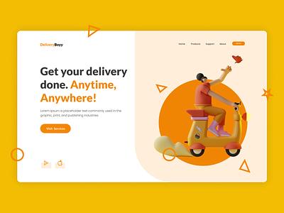 Delivery Landing Page header design landing page web design website concept website web minimal simplicity modern ux design design ux ui