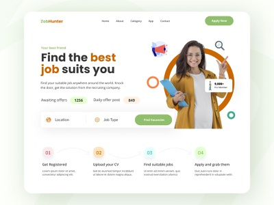 Job finder website landing page trending trendy find job finder 2021 trend landing page design landingpage landing website concept website web minimal simplicity modern ux design design ux ui