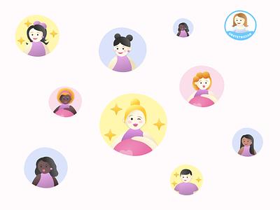 Avatars 😊 ux pregnancy pregnant illustrator design illustration branding ui app