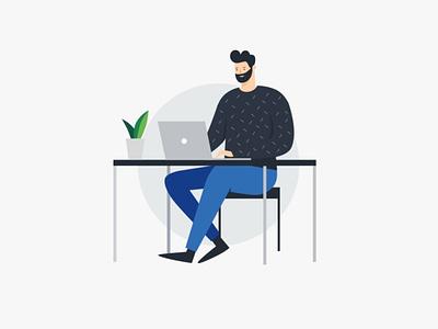 Man at desk with laptop man desk laptop computer illustration vector