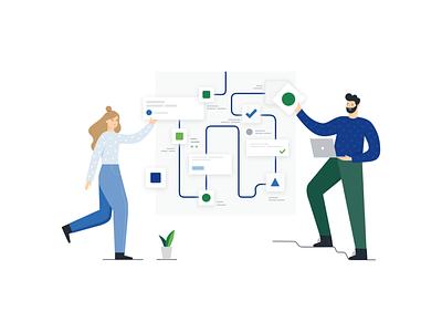 Integration interface plant product integration girl green blue man laptop computer business illustration illustration vector