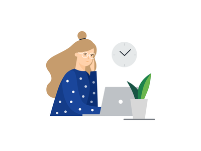 Working at Home busy long hours remote work working at home working plant clock glasses girl laptop illustration vector