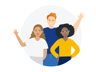 Hello illustration vector hey waving welcome hello people