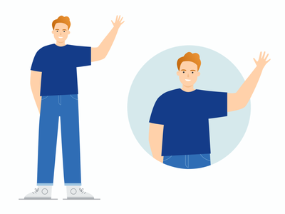 Patrick says hi! welcome page welcome business illustration waving blue man illustration vector