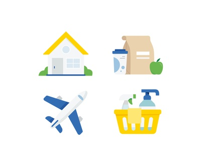 Pandemic Icons food office home office home plane cleaning supplies 2020 pandemic vector illustrations icons
