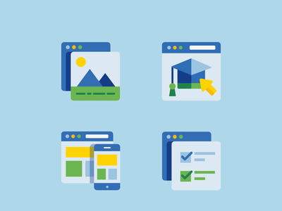 Product Icons browser image responsive quizz learning product app illustrations icons