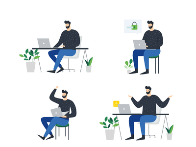 Character Illustration Study man with laptop desk plant man laptop vector illustration