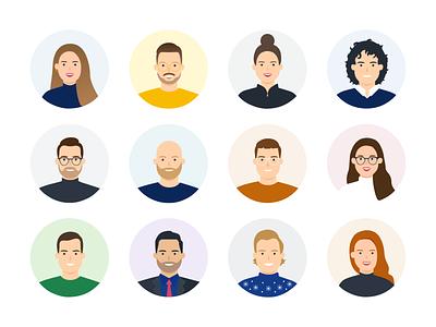 Avatars characters avatars faces man woman vector illustration people