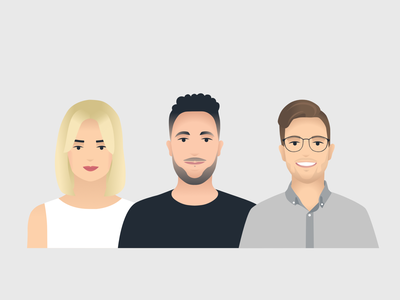 People illustration characters vector grey guy girl woman man faces avatars people