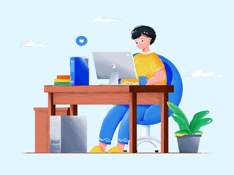 Boy Working From Home