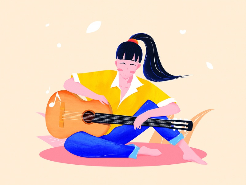 Girl holding a guitar guitar muisic girl illustration