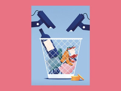 Monocle Editorial Illustration – China City Recycling money bottle can garbage illustraion editorial recycling city china monocle triendl daniel