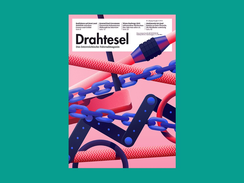 Drahtesel Magazine Cover bicycle bycicle illustration geometry vector triendl daniel vienna austria drahtesel test cycling lock chain