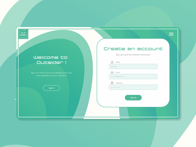 Sign up page Daily UI #001 webdesign 001 dailyui