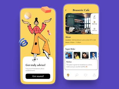 Recommendations app UI purple design bright colors hbtat habitat yellow 3d recommendation application colorful illustration crafted app design app ui