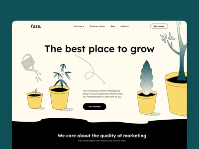 Website for marketing agency ui vector socialmedia grow plants heroimage marketing website colorful design crafted illustration homepage