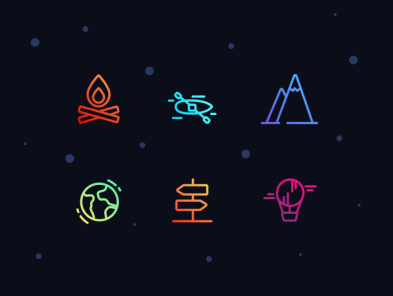 Set of icons on the theme of outdoor