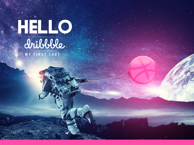 Hello Dribbble dz algiers algeria galaxy spaceman cosmonaut space hello dribbble design illustration firstshot