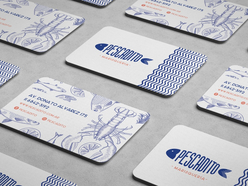 Pescadito - Bussiness card branding visual design trend illustration concept bussiness logo bussiness card graphicdesign design logodesign logo identity branding seafood seafood restaurant