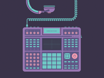 A Gap Between - Promotional Print a gap between drum machine illustration minimal kaoss pad nueva forma bucolic design music electronic headphones