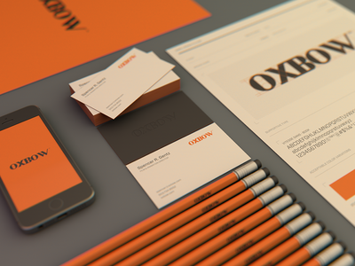 Oxbow branding & collateral custom logotype cinema 4d logo oxbow branding business cards animation studio film studio typography 3d modeling