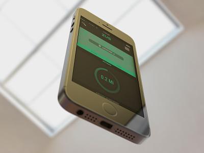 Zus - Iphone 5s Mobile Screen mock-up 3d modeling multidisciplinary colorcubic ios interactive media branding uiux design ui mobile app find parking zus