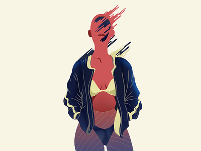 WIP  - MINDBLOW ckrauss character abstract design illsutration sex woman bomber baseball sexy girl