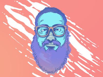 ICH  punk illustration glasses bearded thezeta hardcore face character portrait
