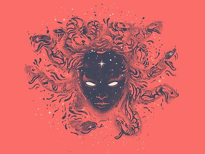Medusa TEE space greek gods serpent dotwork illustration design tshirt medusa