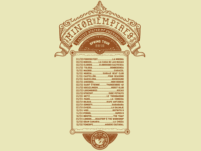 Minor Empires Tour Tee back band tshirt icon iconic wolf unted states of emergency heraldry minor empires