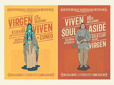 Tour Posters vega baja salvaje native american illustration poster rock gig tour
