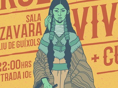 Tour Posters Detail 2 the braves church salvaje soler rock band tour band tour native american native illustration design poster gig