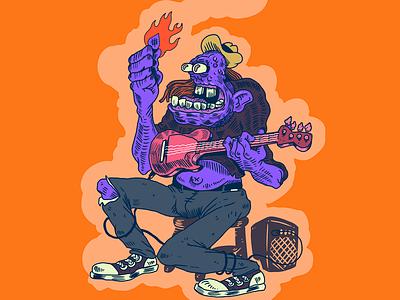 Flaming Pick amp flaming rock guitar savage krauss illustration rotten blues man guitar player guitarrist pick