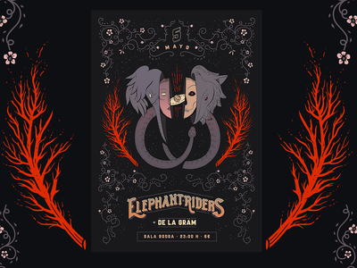 Elephant Riders Poster rock music design illustration stoner concert poster elephant riders