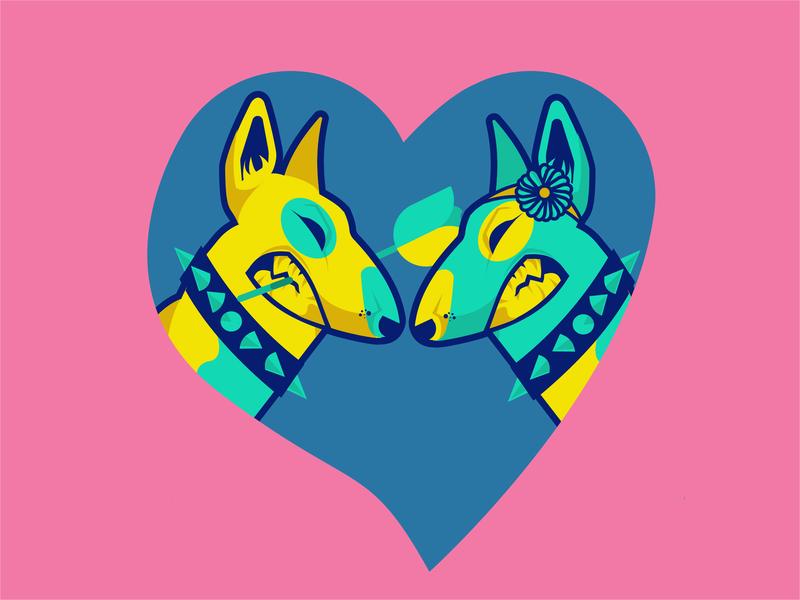 Doglove graphicdesign flatillustration vectorart doglove bullterrier