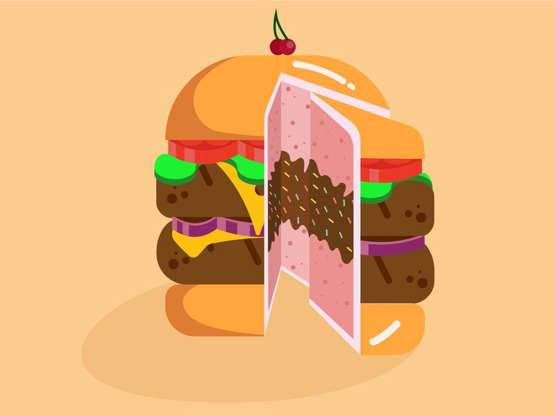 Burguercake foodillustration flatillustration flatdesign vectorart illustration burguercake