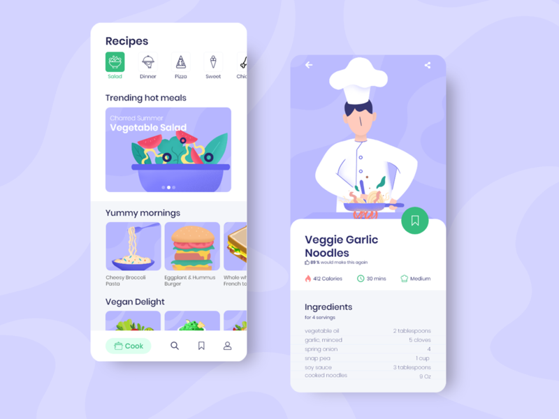 Food App Concept UI ios illustration mobile ui mobile app design mobile app food icons cook food icon app design food app ui app ui