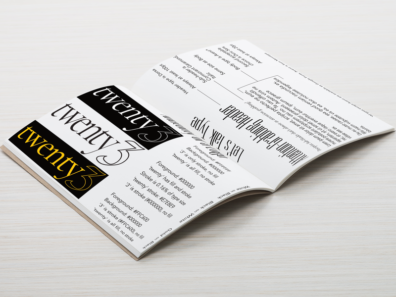 twenty3 Style Guide identity branding identity design branding design style guide book mock-up logo los angeles fashion typogaphy design branding vector