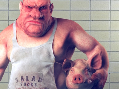 Butch sculpting caricature zbrush character design character design butcher 3d illustration concept art