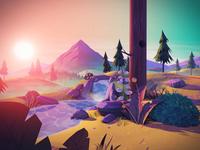 stylized landscape animation illustration river trees foliage sunset unity lowpoly stylized mood nature landscape 3d